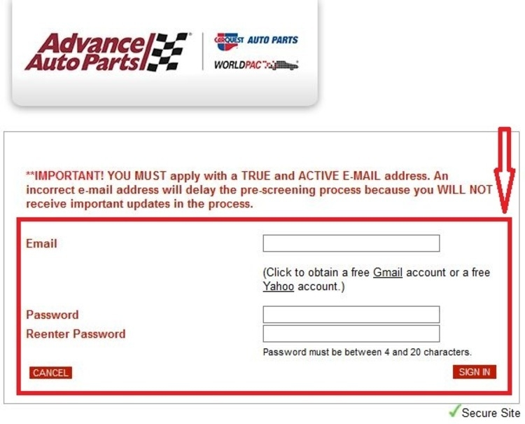 apply Advance Auto Parts online step 4