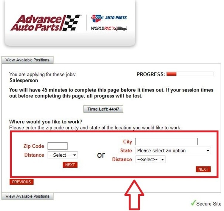 apply Advance Auto Parts online step 5