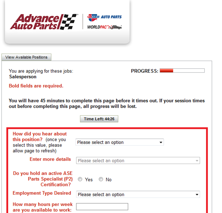 apply Advance Auto Parts online step 7