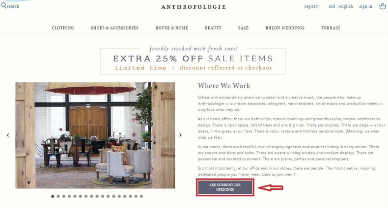 apply Anthropologie online step 1
