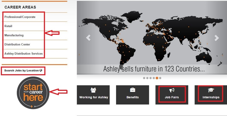 apply Ashley Furniture online step 1