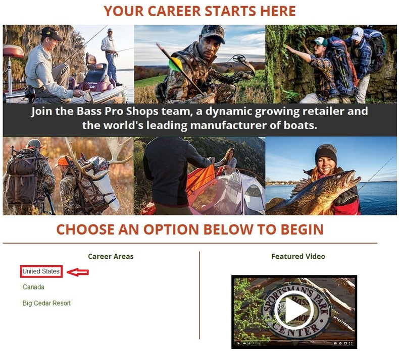 apply Bass Pro Shops online step 1