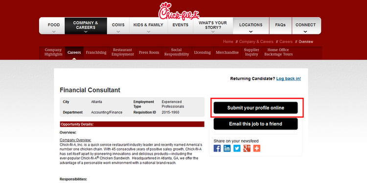 apply Chick Fil A online step 2
