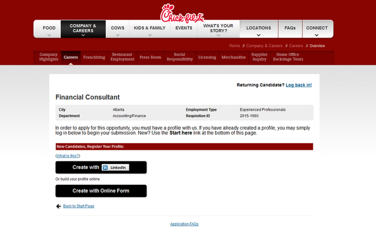 apply Chick Fil A online step 3