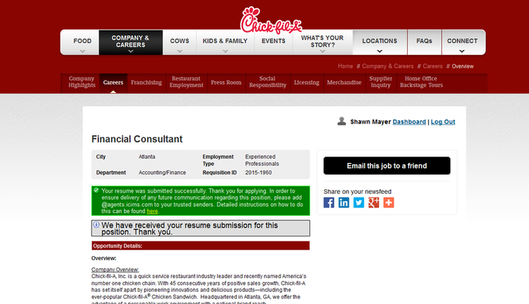 apply Chick Fil A online step 5