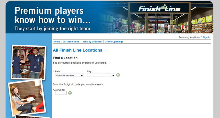 apply Finish Line online step 2
