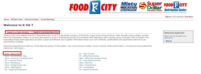 apply Food City online step 2