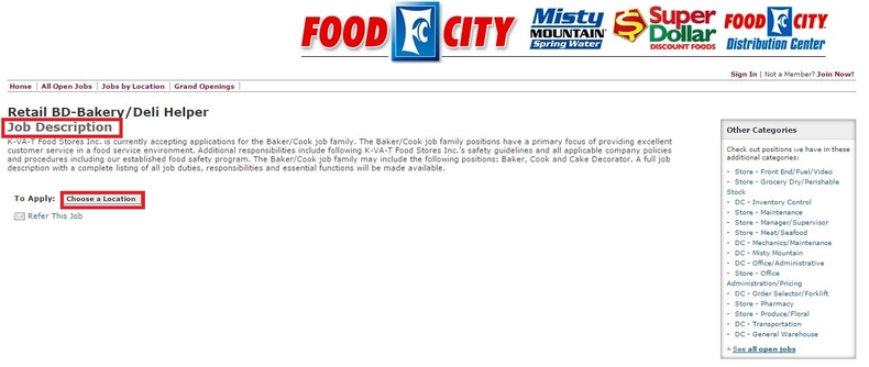 apply Food City online step 3