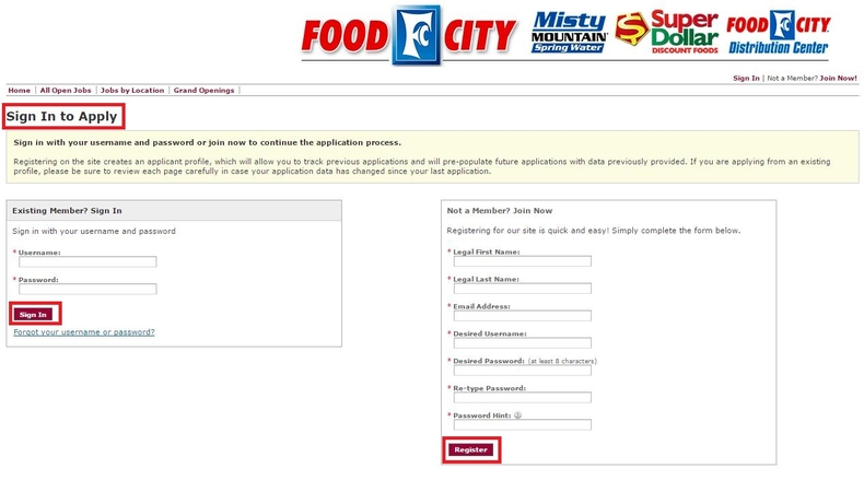 apply Food City online step 4