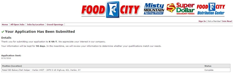 apply Food City online step 9