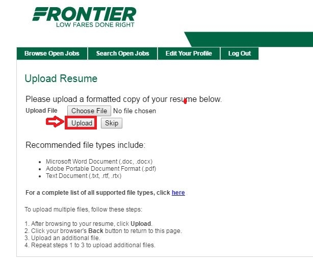 apply Frontier Airlines online step 5