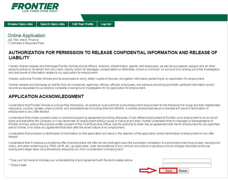 apply Frontier Airlines online step 7