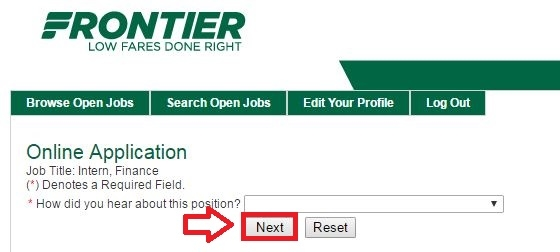 apply Frontier Airlines online step 8