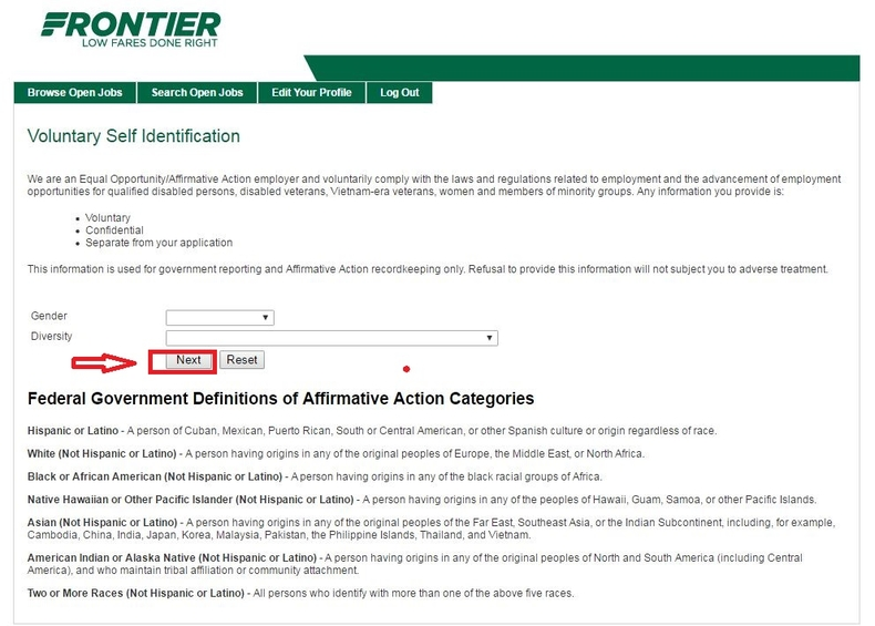 apply Frontier Airlines online step 9
