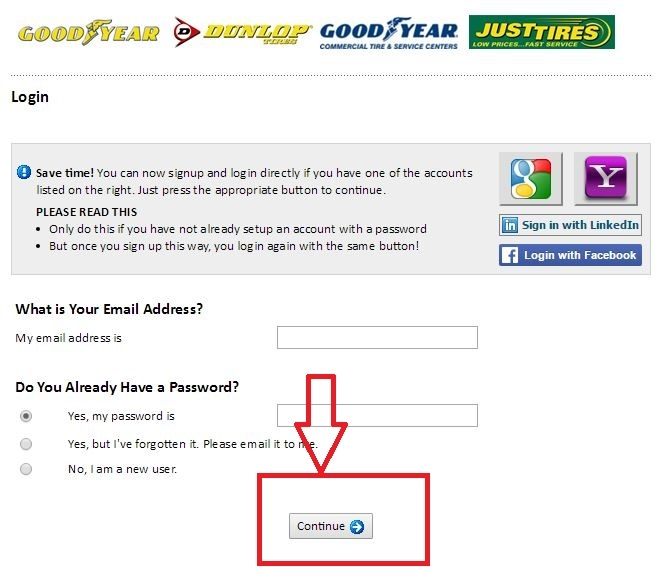 apply Goodyear online step 5