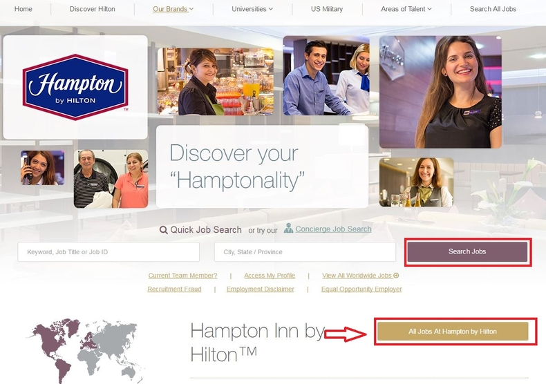 apply Hampton Inn online step 1