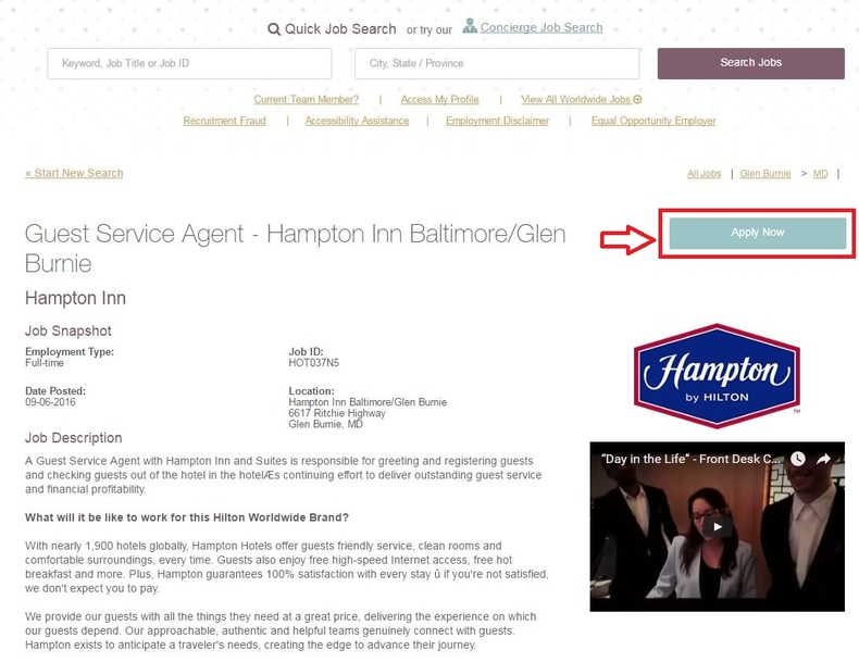 apply Hampton Inn online step 3