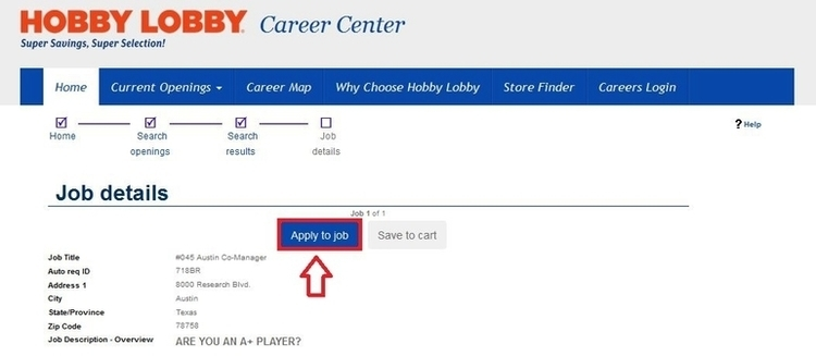 apply Hobby Lobby online step 3