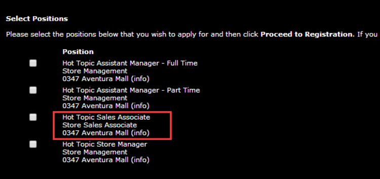 apply Hot Topic online step 3