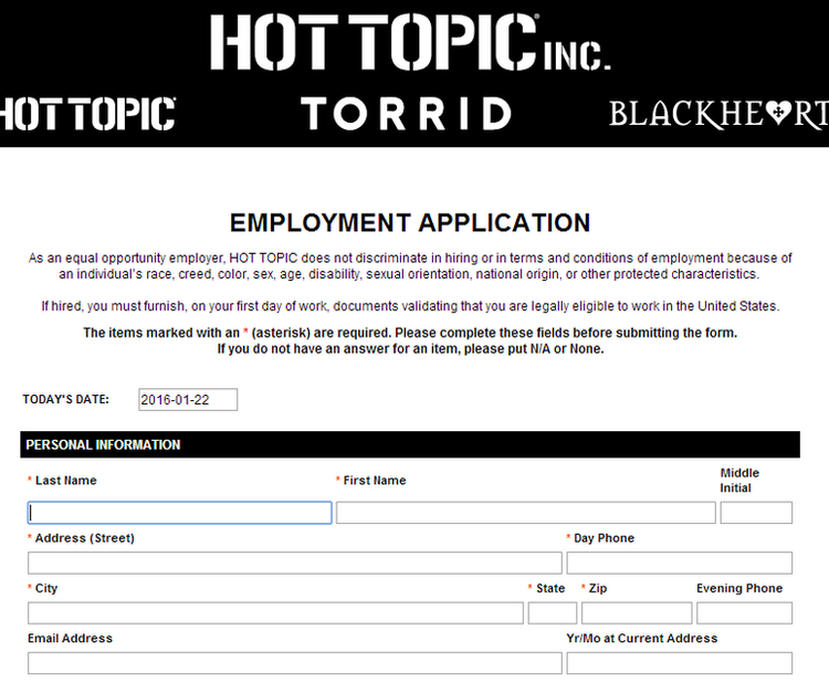 apply Hot Topic online step 7