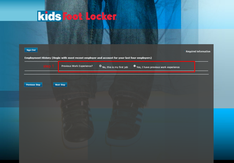 apply Kids Foot Locker online step 5