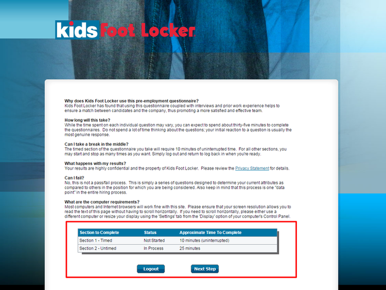 apply Kids Foot Locker online step 9