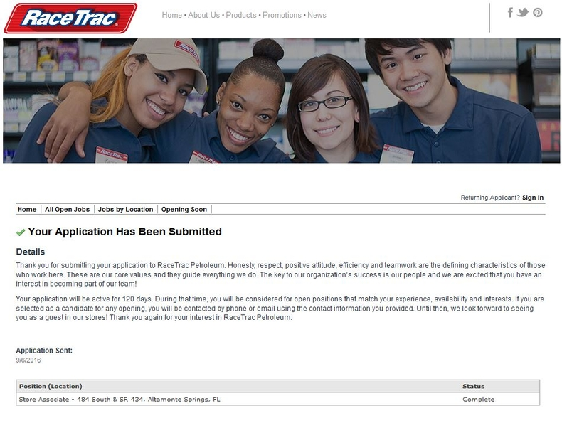 apply RaceTrac online step 8