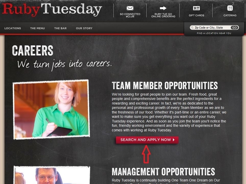 apply Ruby Tuesday online step 1