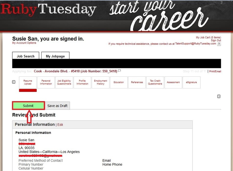 apply Ruby Tuesday online step 8