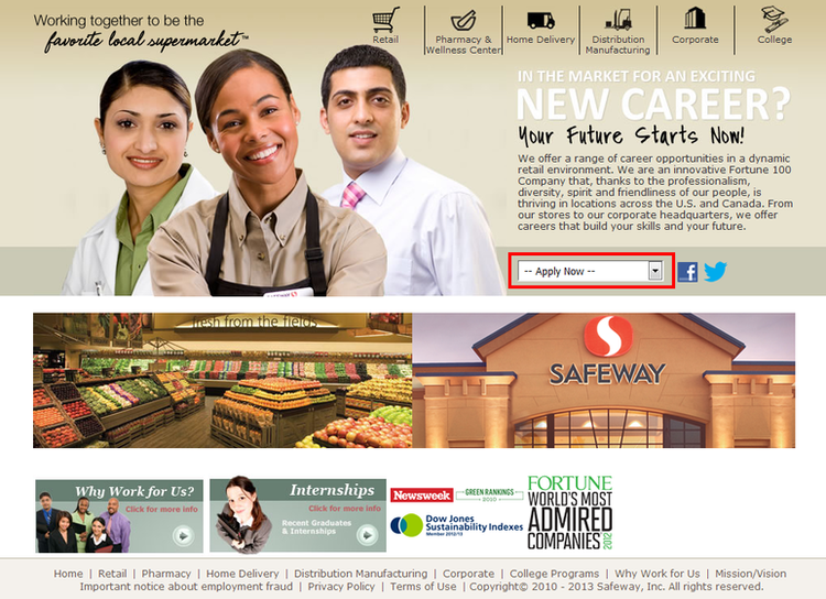 apply Safeway online step 1