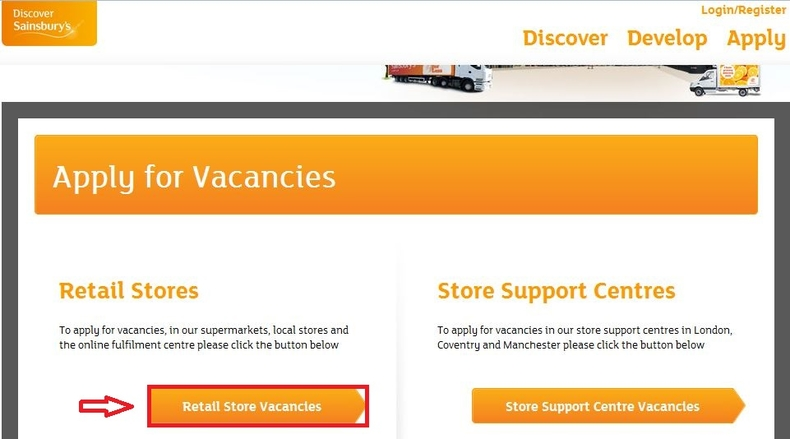 apply Sainsbury's online step 2