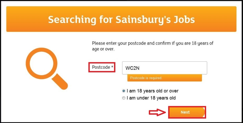apply Sainsbury's online step 3