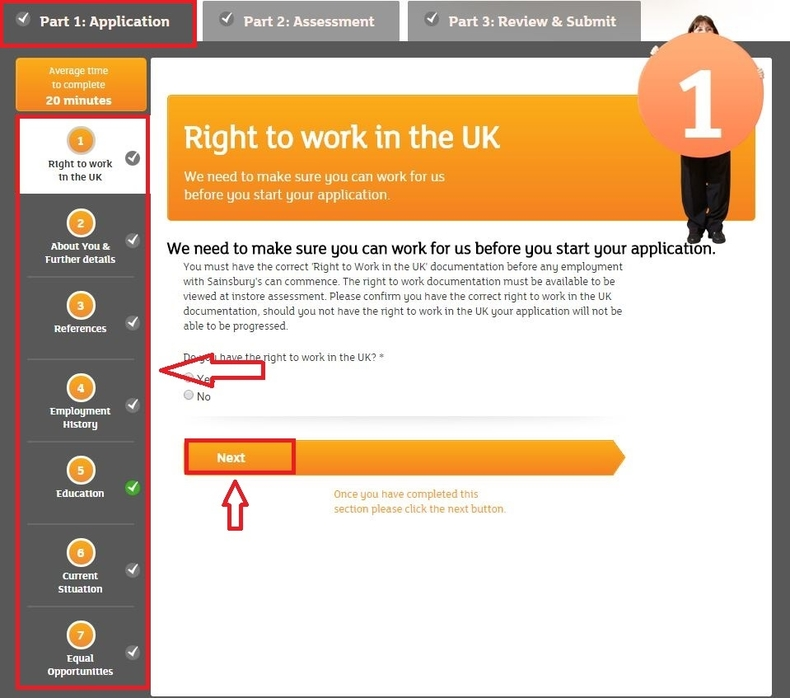 apply Sainsbury's online step 6