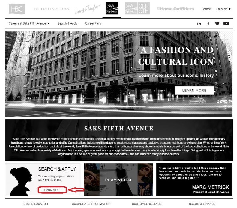 apply Saks Fifth Avenue online step 1