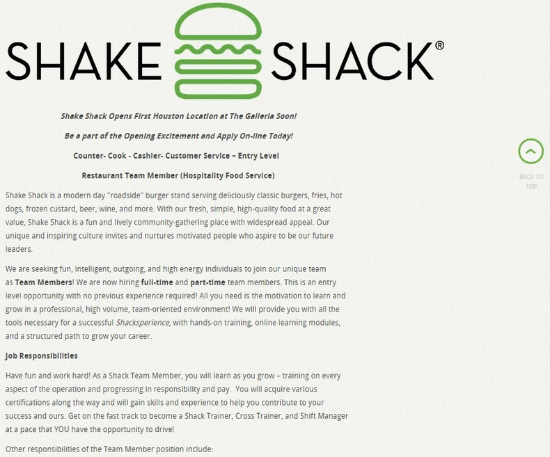 apply Shake Shack online step 3
