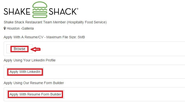 apply Shake Shack online step 5