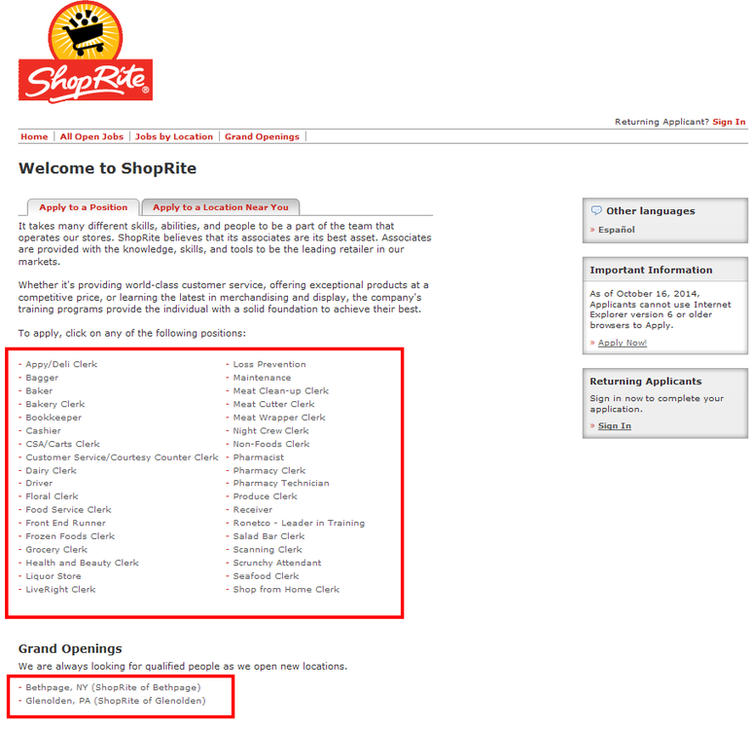 apply ShopRite online step 2