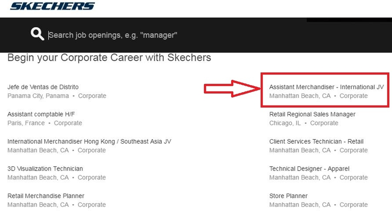 apply Skechers online step 2
