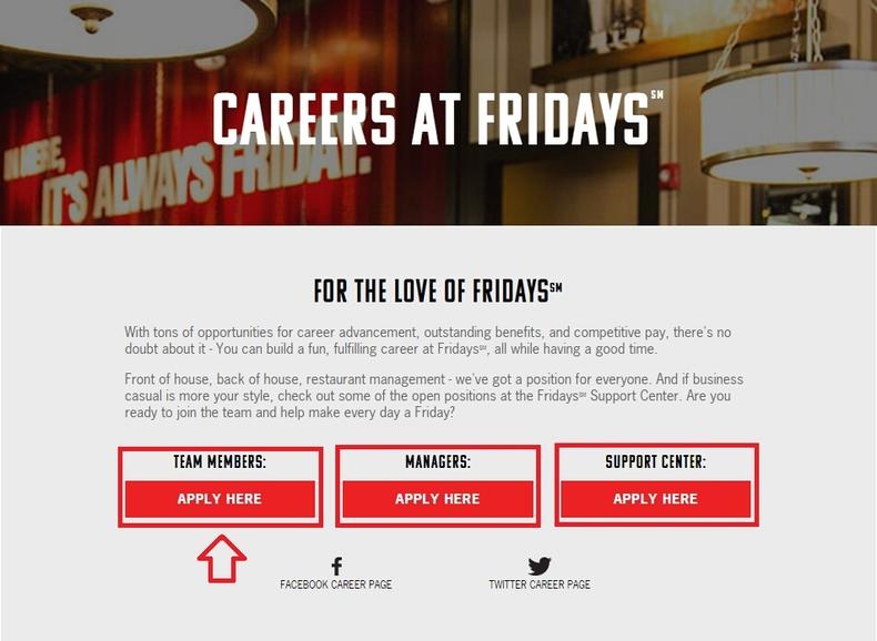 Apply TGI Fridays Online Step 1