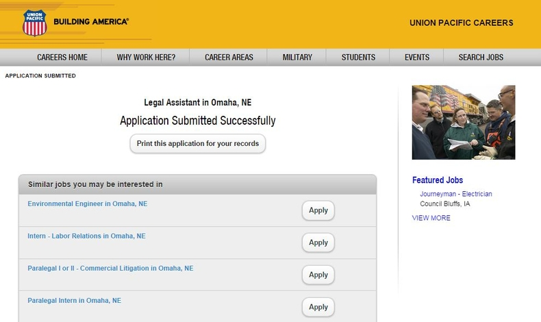apply Union Pacific online step 9
