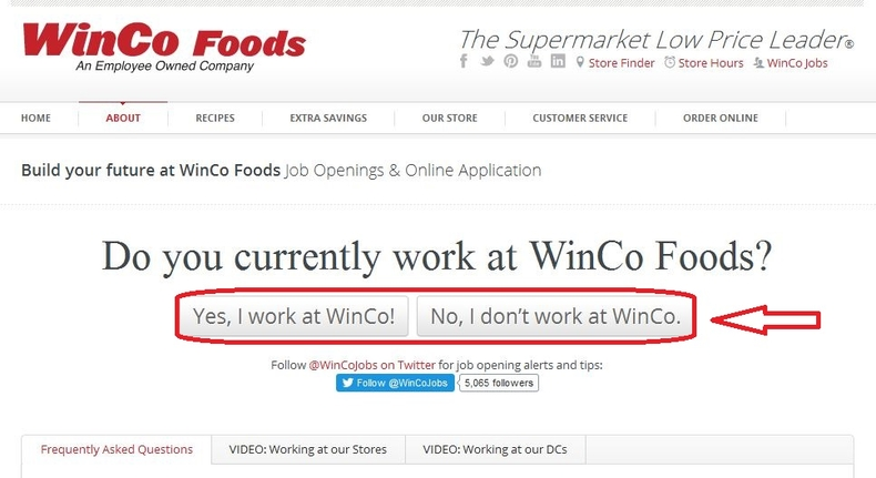 apply WinCo Foods online step 1