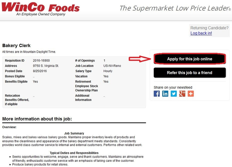 apply WinCo Foods online step 4