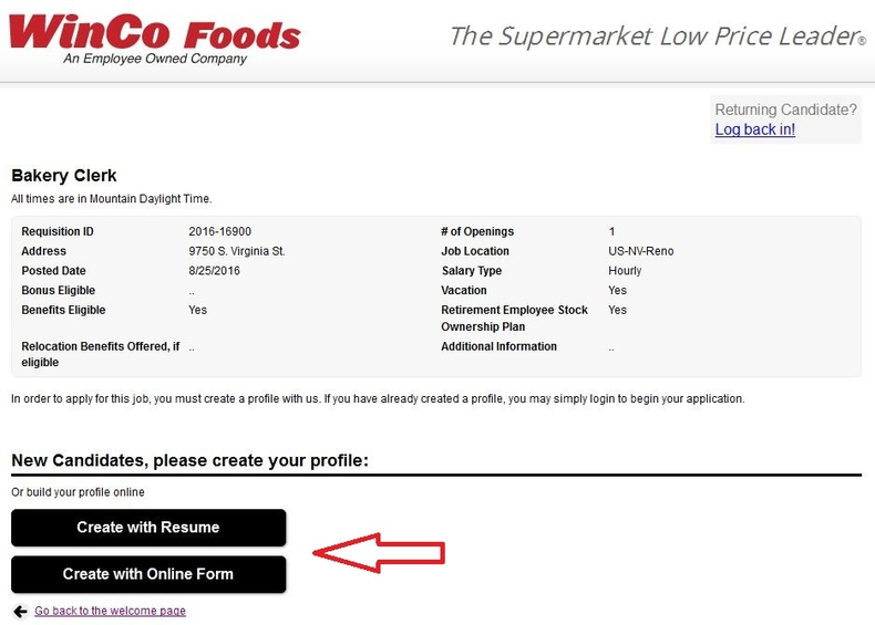 apply WinCo Foods online step 5