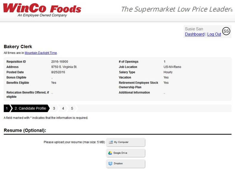 apply WinCo Foods online step 6