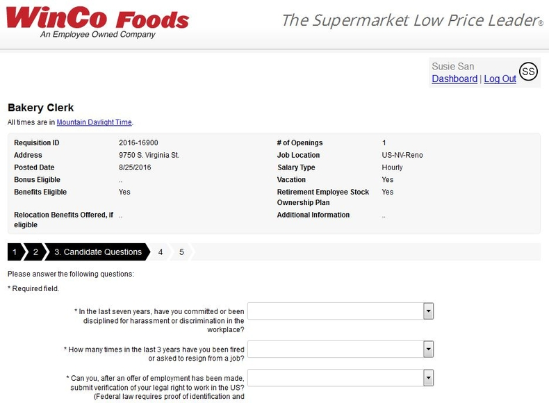 apply WinCo Foods online step 7