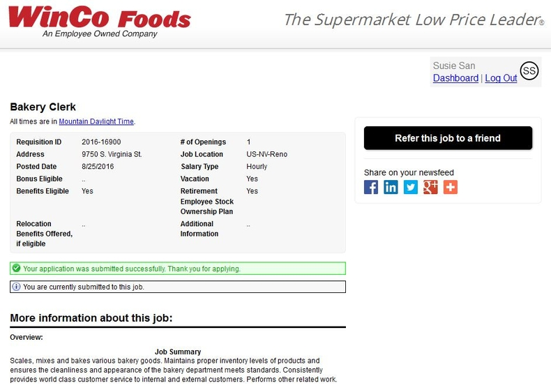 apply WinCo Foods online step 9