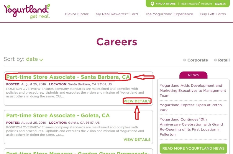 apply Yogurtland online step 1