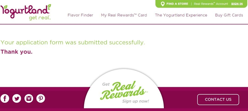 apply Yogurtland online step 6