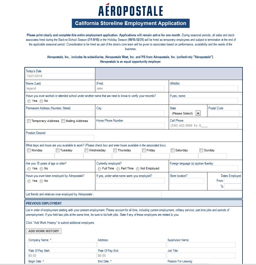 how to apply for aeropostale jobs online at aeropostale com careers apply aeropostale online step 6