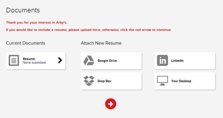 apply Arby's online step 5